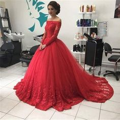 Red Long Sleeves Off-the-Shoulder Lace Natural Ball Gown Tulle Prom Dresses 2107