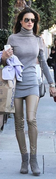 Who made  Alessandra Ambrosio's gray turtleneck dress, handbag, tan leather pants, and ankle boots?