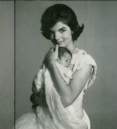 Jackie Kennedy with one of her babies