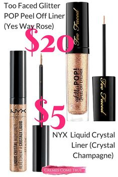 If you haven't tried glitter eyeliner, you need to. With colors like gold and rose gold, it can be a sparkly yet subtle way to make eyes shine brighter. I love this one from nyx. #drugstoremakeup #dupes #nyxcosmetics