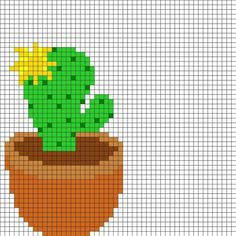 Yellow Flowering Cactus by Airattackkid on Kandi Patterns Kandi Patterns, Bead Loom Patterns, Perler Patterns, Beading Patterns, Cross Stitch Patterns, Stitching On Paper, Cross Stitching, Cross Stitch Embroidery, Hama Beads