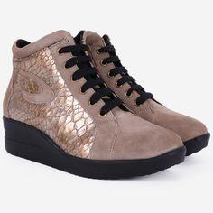Pantofi sport taupe din piele naturala Raimi