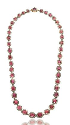 A 19TH CENTURY RUBY AND DIAMOND RIVIÈRE NECKLACE  Composed of forty-three graduated old-cut ruby and rose-cut diamond clusters, late 19th century, 43.1 cm  Accompanied by report no. 15030192/1 to 3 dated 7 April 2015 from the Gübelin GemLab Institute stating that the three rubies that have been tested are of Burmese origin, with no indications of heating, and an Information Sheet on 'Rubies from Mogok, Burma' Price realised CHF 37,500 Estimate CHF 50,000 - CHF 80,000