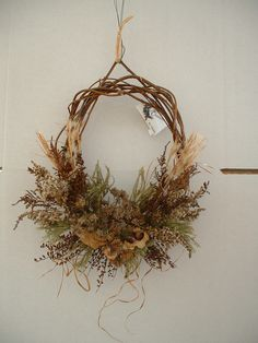 golden rod, evening primrose, native hydrangea Christmas Arrangements, Floral Arrangements, Fall Wreaths, Christmas Wreaths, Fall Decor, Holiday Decor, Evening Primrose, Front Door Decor, Grapevine Wreath