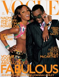 Vogue magazine covers - Vogue UK October 2001 - Naomi Campbell and Puff  Daddy 3deac9049