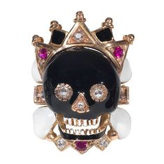 Skull Ring with Crown | From a unique collection of vintage fashion rings at http://www.1stdibs.com/jewelry/rings/fashion-rings/