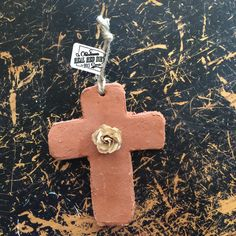 Cross Ornament with Cream & Gold Paper Flower Red Dirt by OklahomaRealRedDirt on Etsy