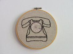 Hand Embroidery Hoop Art Telephone Talker by Moxiedoll on Etsy Embroidery Hoop Art, Cross Stitch Embroidery, Embroidery Designs, Rainbow Quilt, Everyday Objects, Textile Art, Vintage Art, Needlework, Pattern Design