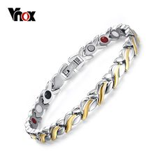 Vnox Adjustable Length Health Magnetic Bracelet For Women Stainless Steel With Germanium Hand Chain