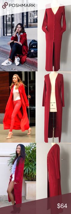 Long cardigan Red Duster Beautiful duster sweater, so perfect for fall. Warm and soft 72% Rayon 28% Nylon. 2 front side pockets to keep your hands warm too 👌🏼 ✅ will bundle 👌🏼✅🚭 ✅ all reasonable offers will be considered 👍🏼 🚫No Trading 🙅🏻 Poshmark rules only‼️ 📝Measurements taken laying flat Ⓜ️ Chest 19 Ⓜ️ Length 55 Ⓜ️ sleeves 55 boutique  Sweaters Cardigans