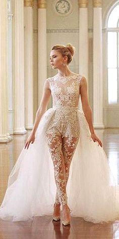 wedding pantsuit via ines di santo / http://www.deerpearlflowers.com/wedding-pantsuits-and-jumpsuits-for-brides/