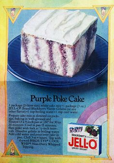 This zesty purple Jell-o poke cake has stripes of flavor from tangy blackberry gelatin. Swap in any other flavor to make this cake recipe all your own. Poke Cake Jello, Poke Cake Recipes, Jello Recipes, Poke Cakes, Cupcake Cakes, Dessert Recipes, Cupcakes, Recipies, Jello Desserts