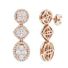 14K Gold Designer Diamond Drop Earrings for Women 2.5ct by Luxurman
