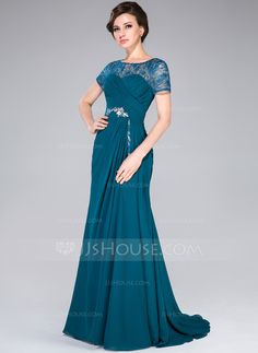 A-Line/Princess Scoop Neck Sweep Train Chiffon Lace Mother of the Bride Dress With Ruffle Beading Sequins (017041170)