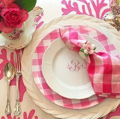 pink buffalo check / gingham table scape. monogram, white plates, roses