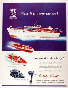 Features the 52 foot Conqueror with double cabin, flying bridge, and sun deck. Also features the Chris Craft Holiday runabout. Chris Craft Wooden Boats, Plinko Board, Poster Boards, Dorm Posters, Classic Wooden Boats, Cabin Cruiser, Ahoy Matey, Vintage Boats, Cool Boats