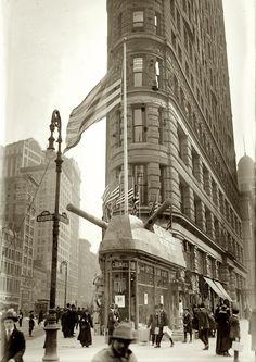 "New York, April 1917. ""Recruiting address -- 23rd & Broadway (Flatiron Building)."" George Grantham Bain Collection glass negative."