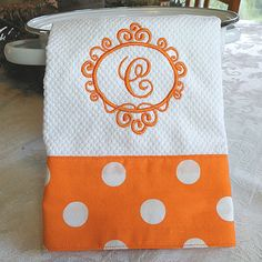 Monogrammed dish towel, fabric details added :) Cute idea for modern bridal gift