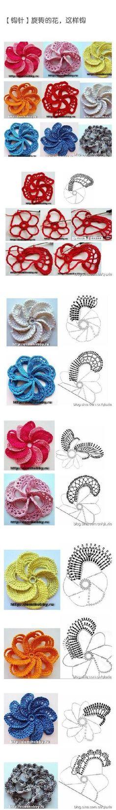 Irish Crochet Flower (chart + tutorial) by tonya. Crochet Diy, Freeform Crochet, Crochet Chart, Love Crochet, Crochet Motif, Irish Crochet, Crochet Stitches, Spiral Crochet, Crochet Diagram