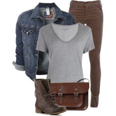 Jean Jacket, Grey T-Shirt, and Brown Jeans - Polyvore