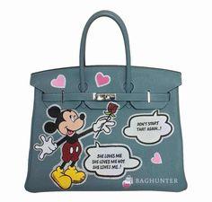 Hermès Birkin Handbag Custom Painted Mickey Mouse
