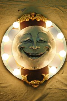 Carousel Large Man in the Moon Wall Light Carnival Art #Outsider