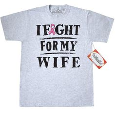 e6f4a17981ef Inktastic Breast Cancer Fight For Wife T-Shirt Ribbon Awareness Support I  My Husband Walk Event Pink Mens Adult Clothing Apparel Tees T-shirts Hws