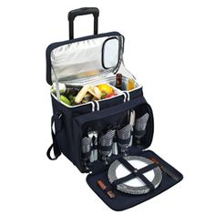 Fully equipped picnic cooler for four with removable wheeled cart. Unique, divided cooler compartment with separate sections for wine and food.
