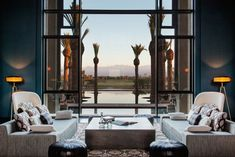 Mauritian architect Jean-François Adam put an updated spin on Moorish-style architecture for his design of the Royal Palm Marrakech, the latest resort from Beachcomber Hotels. The retreat is set among an olive grove just outside of Marrakech, making it both conveniently located and secluded.