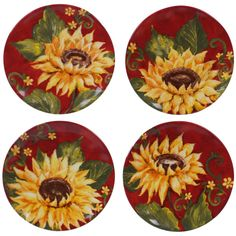 Brighten your table setting with the Sunset Sunflower Appetizer Plates by Certified International. Featuring magnificent sunflower blooms set against a rich red background, these elegant ceramic plates add a wow factor to any meal. Top 10 Christmas Gifts, Thoughtful Christmas Gifts, Sunflower Design, Appetizer Plates, Plates And Bowls, Salad Plates, Texture Design, Red Background, Plate Sets