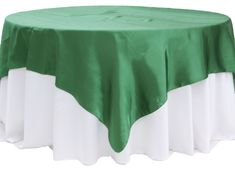 """Square+90""""x90""""+Satin+Table+Overlay+-+Emerald+Green"""