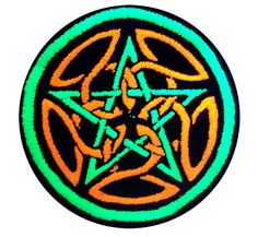 This is an embroidered patch featuring the ancient symbol of the pentagram, or pagan star (pentacle) with celtic knotwork inbetween. The right side up Pentagram, or Pagan/Celtic Star is an ancient symbol. The meaning is when the star is pointed upwards, or towards the sky, we have power over our reality and are able to manifest. The 5 sides of the star have various meanings, but the one best known is for Earth, Air, Fire, Water, and Spirit.  The size is 3.9 or 10cm across.  This symbol was…