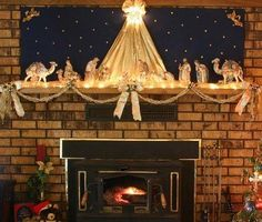A mantle is the perfect place to display a crèche, Christmas village, or other heirloom decorations yet still keep them safely out of reach of pets and children. A simple swag beneath the mantle adds an appropriate border for the scene.