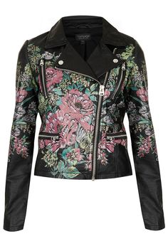 685460eb25 Black leather-look biker jacket with a bright floral design on the  centre-back