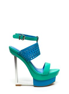 Colorblocked Out Laser Cut-Out Heels TURQUOISE FUCHSIA BLACK NUDE - GoJane.com