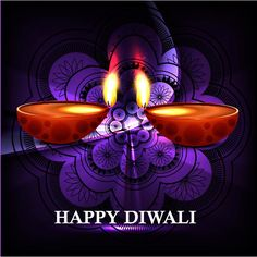 Free vector beautiful happy Diwali diya glowing on purple floral art Hindu traditional pattern design deepavali greeting card wallpaper desi...
