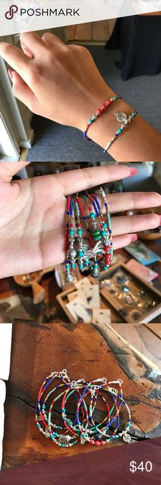 Beads Lapis beaded bracelet Lapis, coral & brass beads with traditional focal beads. Handmade in Kathmandu, Nepal. (only on bundle) Vintage Jewelry Bracelets