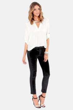 The party never ends with the The Clock Strikes Velvet Black Velvet Pants! Black velvet forms these sexy skinnies with vegan leather panels down the sides. Black Velvet Pants, Cocktail Attire, Leggings, Autumn Winter Fashion, Cute Outfits, Party Outfits, Beautiful Outfits, Trendy Outfits, What To Wear