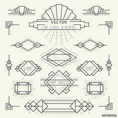 Linear Design Style Art Deco Style Line and Geometric Labels and Badges Monochrome royalty-free stock vector art Art Deco Logo, Art Deco Typography, Art Deco Bar, Art Deco Font Free, 1920s Art Deco, Estilo Art Deco, Art Nouveau, Bullet Journal Art, Bullet Journal Inspiration