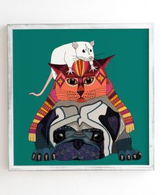 Sharon Turner Mouse Cat Pug Framed Wall Art by DENY Designs #zulily #zulilyfinds