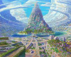 Fantasy Artwork, Fantasy Art Landscapes, Fantasy Concept Art, Fantasy Landscape, Landscape Art, Fantasy City, Fantasy Castle, Fantasy Places, Fantasy Kunst