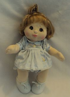 Mattel My Child Canadian Ash Blonde Topknot  Brown Eyed Girl in Ducky Dress 1985 #DollswithClothingAccessories