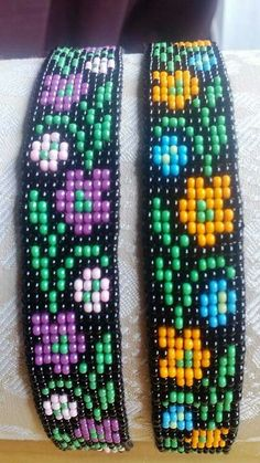 I wanted to show you steps to make a bracelet with natural stone and leather thread with video. Loom Bracelet Patterns, Seed Bead Patterns, Bead Loom Bracelets, Beading Patterns, Beading Ideas, Seed Bead Crafts, Loom Beading, Bead Art, Bead Weaving