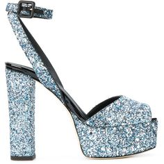 Giuseppe Zanotti Design Betty glitter platform sandals ($795) ❤ liked on Polyvore featuring shoes, sandals, blue, embellished sandals, leather sole sandals, leather ankle strap sandals, block heel platform sandals and block-heel sandals