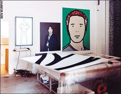 Works in Julian Opie's Shoreditch studio: Shahnoza dancing inwhite dress, 2007; Lorenzo with hand on chest, 2008; Julian, artist. 2, 2005; (on table) Flocked painting 09, 2007