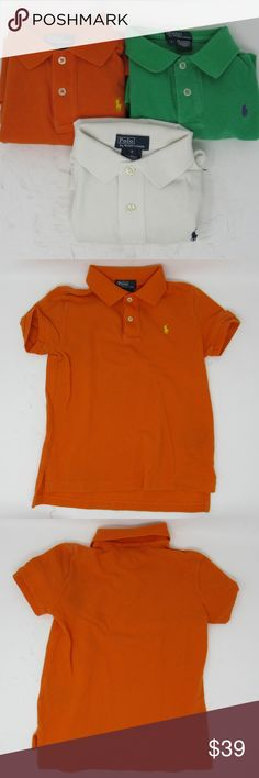 Bundle Polo by Ralph Lauren s/s shirts boys sz 6 100% cotton. Bundle of 3 knit polo shirts by Ralph Lauren. Each is in good, school-ready condition IMO - my little one is pretty easy on these shirts - got them for school but he'd rather wear t-shirts. Anyhow, the orange one has a yellow logo; the green one has a purple logo; and the white shirt has a navy logo. Please use the pictures to give them a good look.  180239; 240; 241 Polo by Ralph Lauren Shirts & Tops Polos