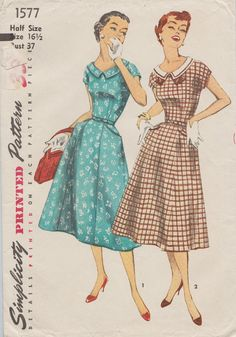 This vintage Simplicity sewing pattern was designed in 1956. It makes a one piece dress with a low round neckline and a portrait collar. Size 16 1/2: Bust 37 --- Waist 31 --- Hip 41. It has been neatly used and is complete including instructions. The envelope is in good vintage condition.  To see more vintage dress patterns: https://www.etsy.com/shop/studioGpatterns?section_id=6940891&ref=shopsection_leftnav_3  To visit my shop: https://www.etsy.com/shop/studioGpatterns?ref=hdr_shop_menu