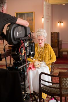 """Tilda Swinton on the set of the new Wes Anderson film """"The Grand Budapest Hotel"""""""