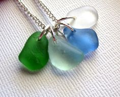Seaglass Necklace Kai by GardenLeafDesign on Etsy, $26.00