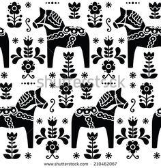 Swedish folk art Dala or Daleclarian horse seamless pattern in black by RedKoala #Sweden #wallpaper #print